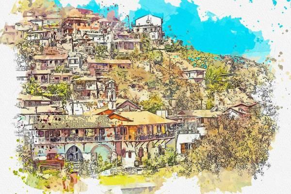Painting - Street Of Kalopanayiotis In Cyprus 6 Watercolor By Ahmet Asar by Ahmet Asar