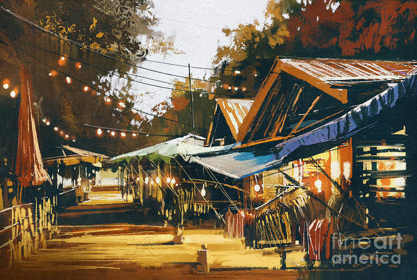Pastel Colors Digital Art - Street Of Traditional Market At by Tithi Luadthong