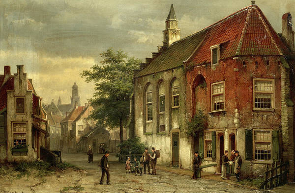 Wall Art - Painting - Street Scene In A Dutch Town by Willem Koekkoek