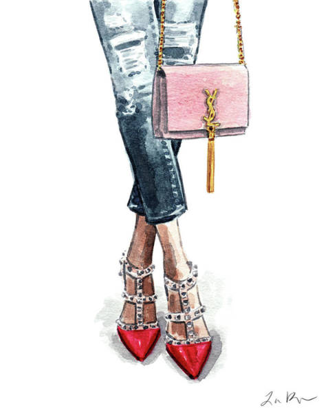 Wall Art - Painting - Street Style Ootd Valentino And Ysl by Laura Row