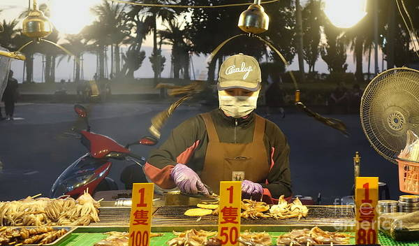 Photograph - Street Vendor Cooks Grilled Squid by Yali Shi