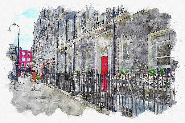 Wall Art - Digital Art - Street #watercolor #sketch #street #city by TintoDesigns