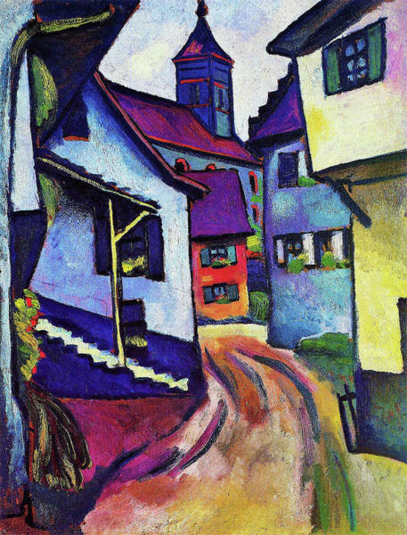Wall Art - Painting - Street With Church In Kandern - Digital Remastered Edition by August Macke