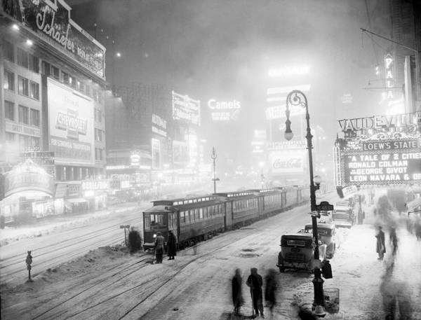 Photograph - Streetcars Are Stuck At W. 45th St. In by New York Daily News Archive