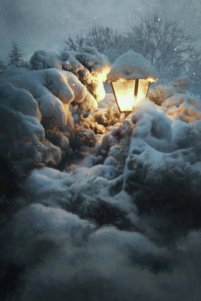 Light Blue Photograph - Streetlamp In The Snow by Scott Norris
