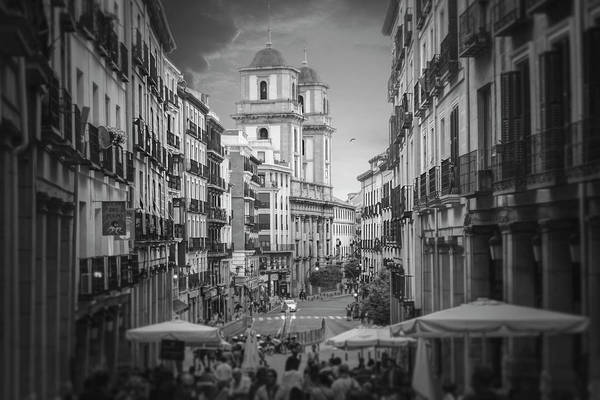 Wall Art - Photograph - Streets Of Madrid Spain In Black And White  by Carol Japp