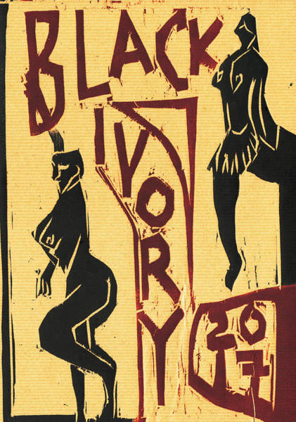 Relief - Strip Club Black Ivory Woodcut 12 by Artist Dot