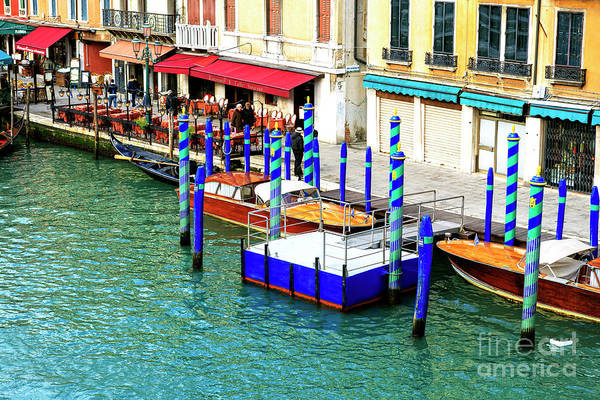 Photograph - Striped Dock On The Venice Grand Canal 2009 by John Rizzuto