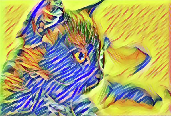Digital Art - Striped Kitty Abstract by Don Northup