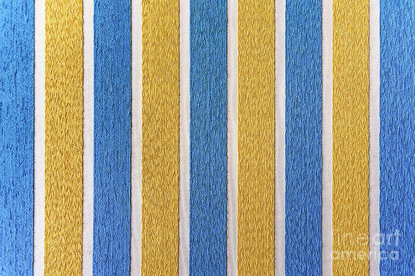 Photograph - Strips Of Colored Fabric Cover A Wall Of Carpet, Decoration Back by Joaquin Corbalan