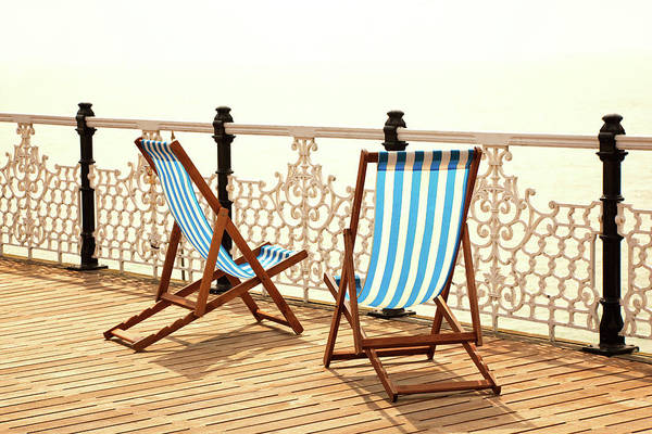 Deck Chair Photograph - Stripy Chairs by Nikada