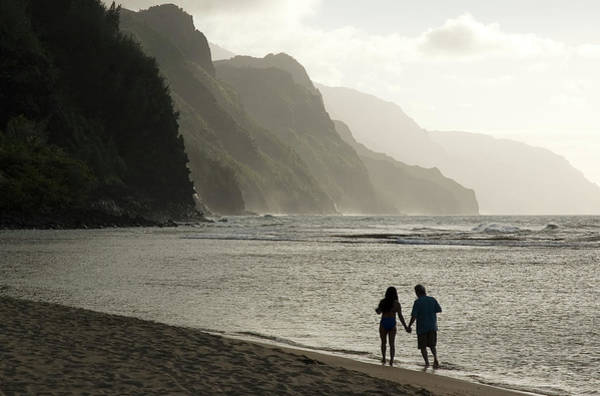 Emotion Photograph - Strolling On Na Pali Coast, Kee Beach by John Elk Iii