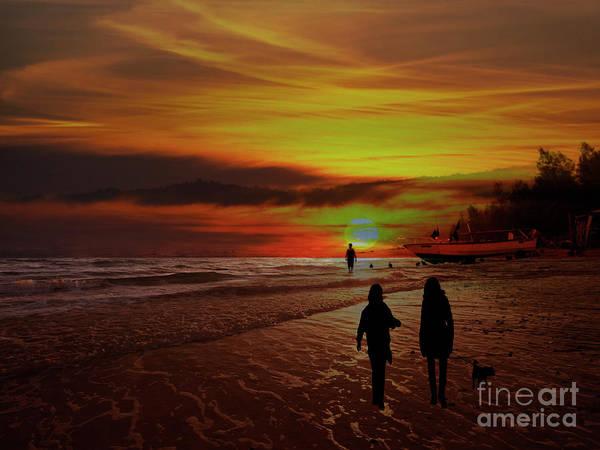 Dog Walker Photograph - Strolling The Beach At Olon by Al Bourassa