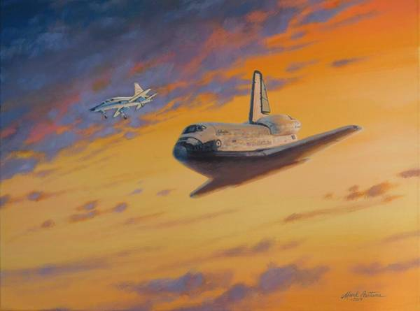 Space Shuttle Painting - Sts-5 Approach To Edwards Afb by Mark Pestana