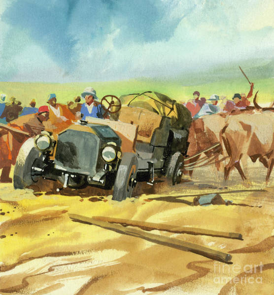 Wall Art - Painting - Stuck During Ten Thousand Mile Motor Race by Ferdinando Tacconi