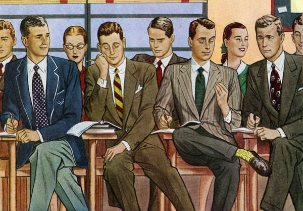 Classroom Digital Art - Students In College Classroom by Graphicaartis