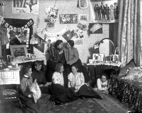 College Campus Painting - Students In Oxford College Dormitory Room, Ca. 1900 Miami University by Celestial Images