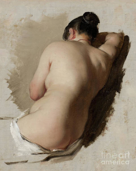 Upper Body Painting - Studfy Of A Nude Circa 1850 by Amalia Lindegren