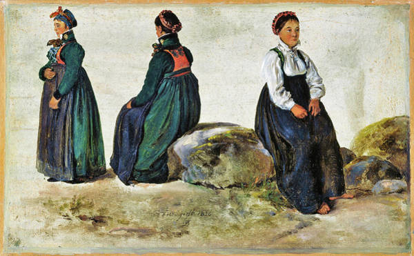Wall Art - Painting - Studies Of Female Costumes From Luster In Sogn - Digital Remastered Edition by Johan Christian Dahl