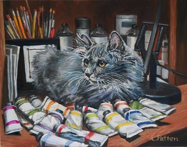 Wall Art - Painting - Studio Cat In Training by Eileen Patten Oliver