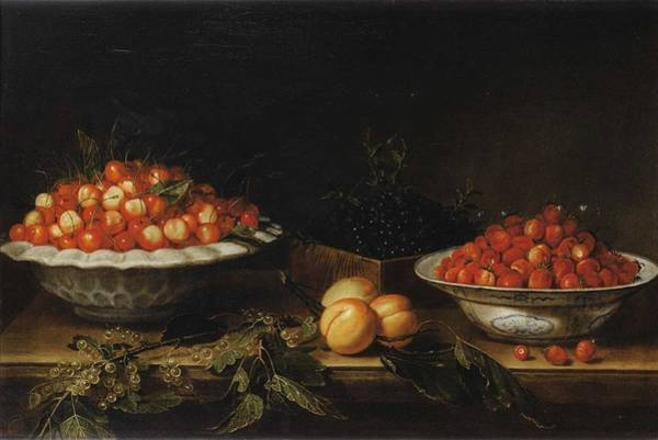 Wall Art - Painting - Studio Of Francois Garnier Paris 1600 - 1672 Still Life With A Bowl Of Cherries by MotionAge Designs