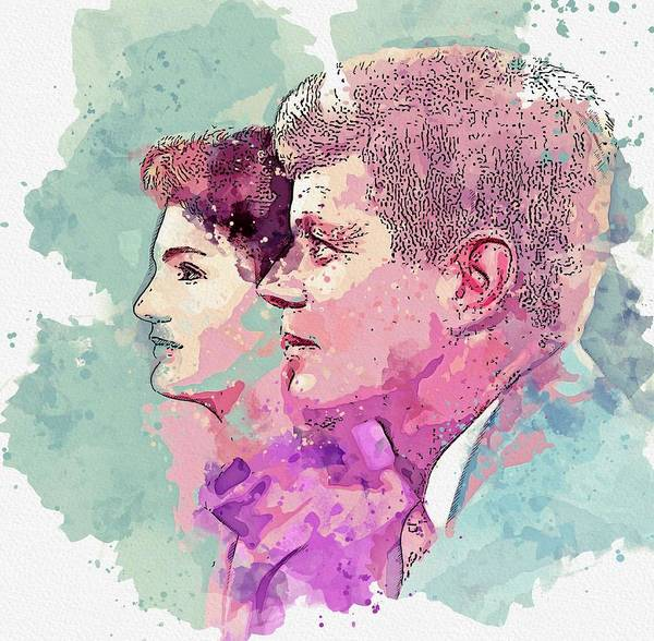 Painting - studio photo of JFK and Jackie presumably during their first years in the White House watercolor by  by Ahmet Asar