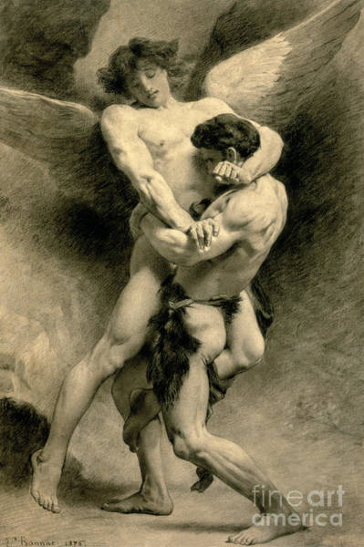 Wall Art - Drawing - Study For Jacob Wrestling With The Angel, 1876 by Leon Joseph Florentin Bonnat