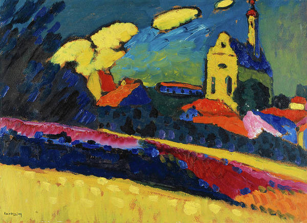 Wall Art - Painting - Study For Murnau, Landscape With Church by Wassily Kandinsky