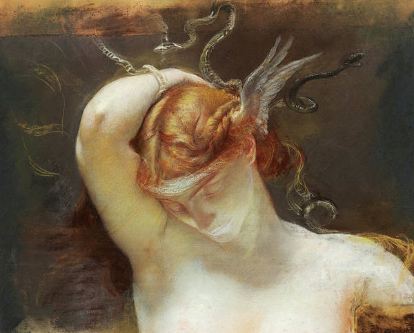 Helm Painting - Study For The Gorgon And The Heroes by Giulio Aristide Sartorio