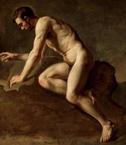Painting - Study Of A Male Nude by Jozef Simmler