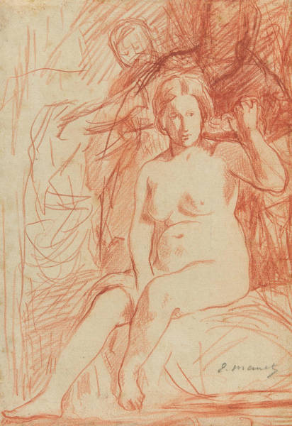 Wall Art - Drawing - Study Of A Seated Nude by Edouard Manet