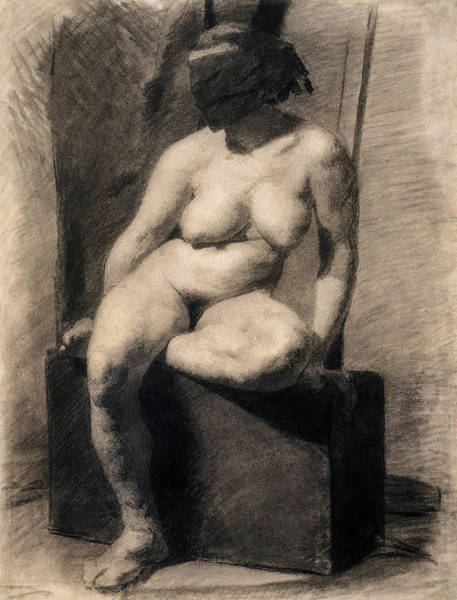 Wall Art - Painting - Study Of A Seated Nude Woman Wearing A Mask, 1866 by Thomas Eakins