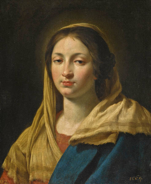 Painting - Study Of A Young Woman As The Virgin by Simon Vouet