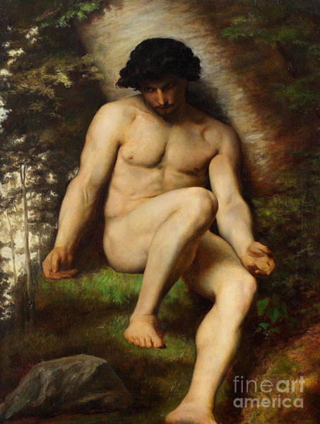 Wall Art - Painting - Study Of Adam For Paradis Perdu by Alexandre Cabanel