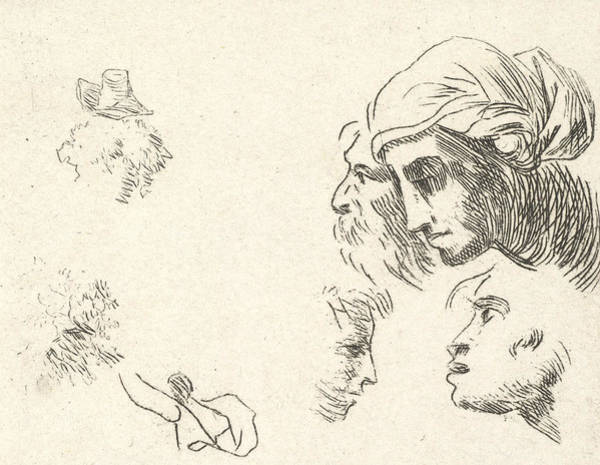 Wall Art - Relief - Study Of Heads In Profile View, A Woman With Headcloth And Bearded Man Whose Heads Overlap Above by Karel Dujardin