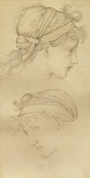 Wall Art - Painting - Study Of The Heads Of Two Girls by Edward Burne-Jones