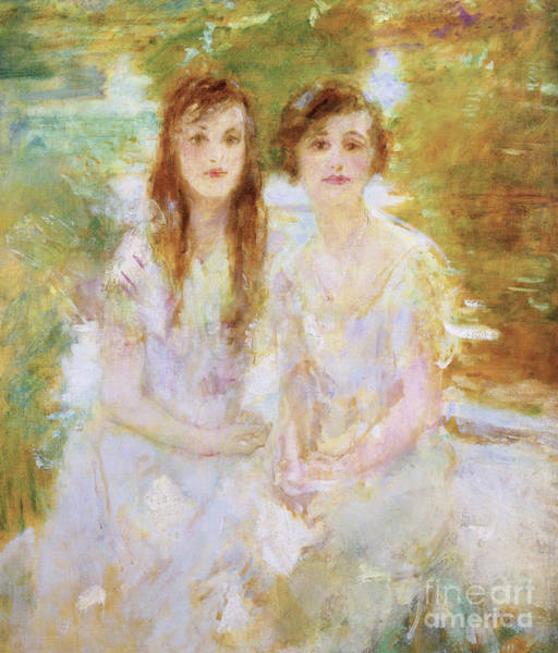 Wall Art - Painting - Study Of Two Young Girls by Ambrose McEvoy