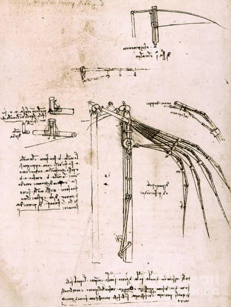 Wall Art - Drawing - Study On Wings, Codex Atlantic by Leonardo Da Vinci