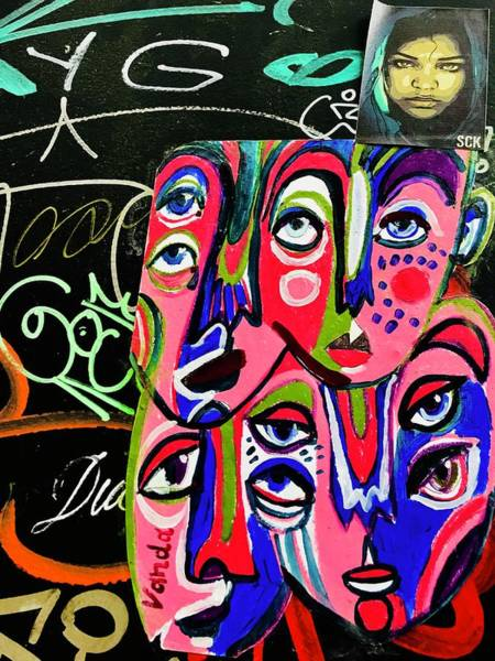 Arte Photograph - Stunning Faces On A Barcelona Wall  by Funkpix Photo Hunter