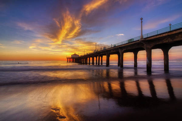 Photograph - Stunning Sunset At Manhattan Beach Pier by Andy Konieczny