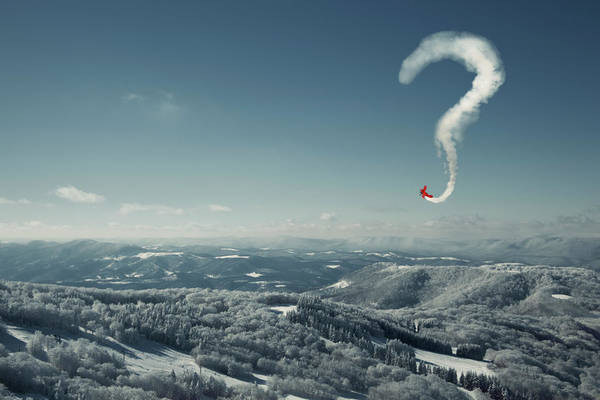 Question Photograph - Stunt Plane Making A Question Mark by David Aaron Troy
