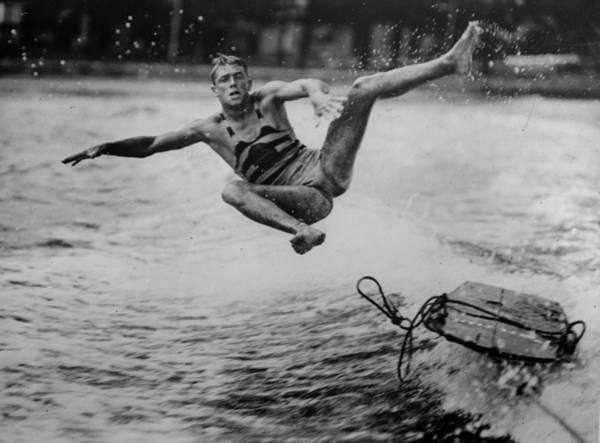 Waterskiing Photograph - Stuntman by Fox Photos