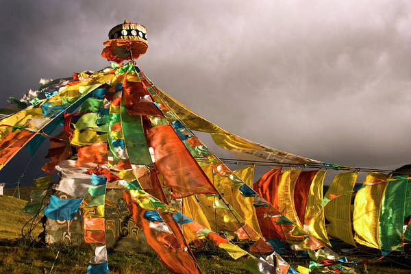 Wall Art - Photograph - Stupa, Buddhist Altar In Tibet, Flags by Stefano Tronci