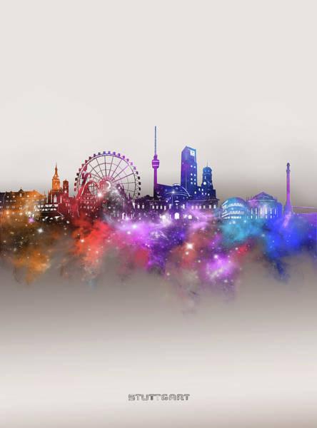Wall Art - Digital Art - Stuttgart Skyline Galaxy by Bekim M