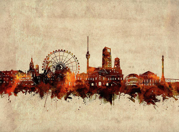 Wall Art - Digital Art - Stuttgart Skyline Sepia by Bekim M