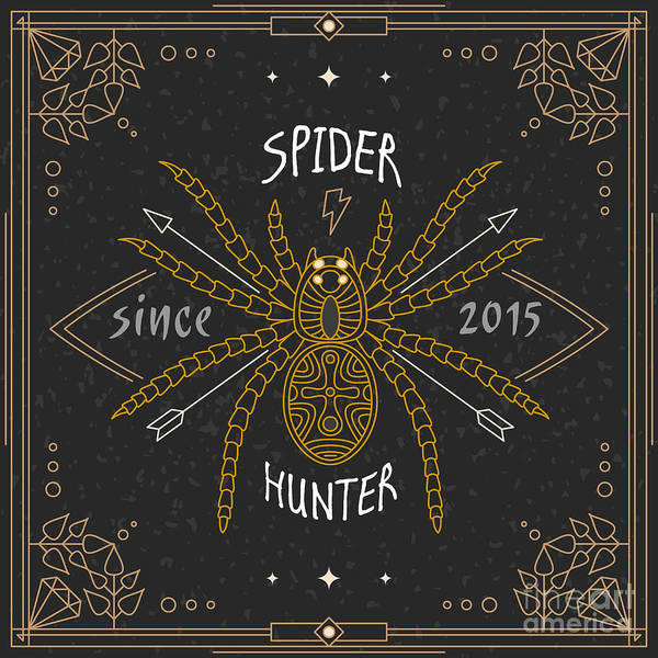 Wall Art - Digital Art - Stylish Thin Line Spider Label. Vintage by Karnoff