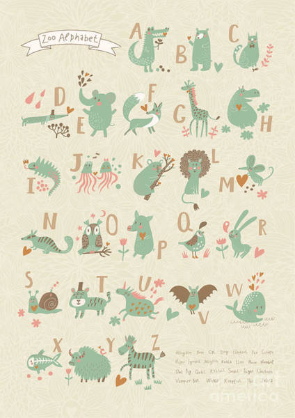 Stylish Zoo Alphabet In Vector. Lovely Art Print by Smilewithjul