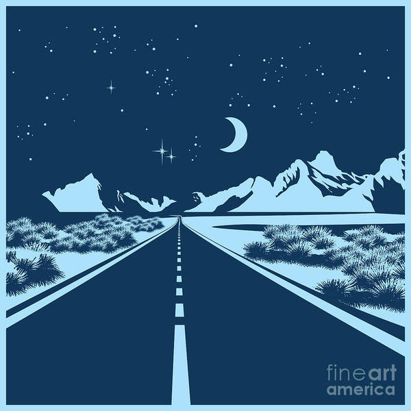 Prairie Digital Art - Stylized Vector Illustration Of A Night by Andrii Stepaniuk