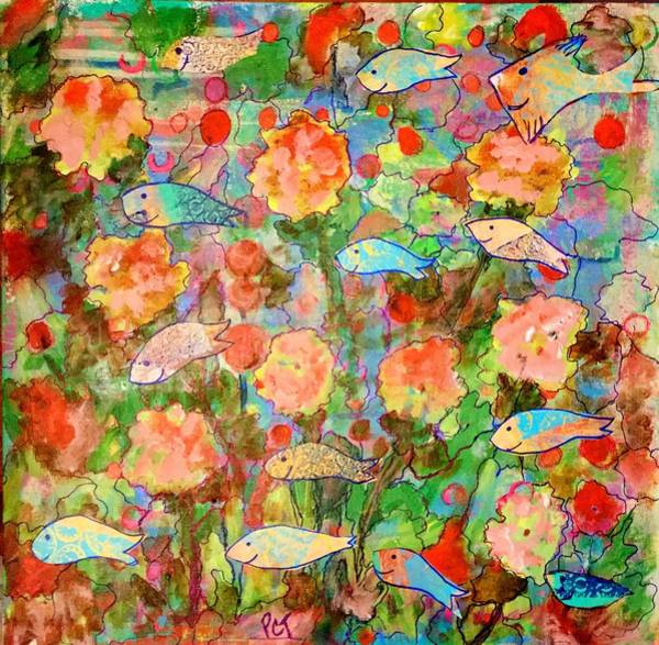 Overflow Painting - Submerged Garden With Happy Fish by Patricia Clark Taylor