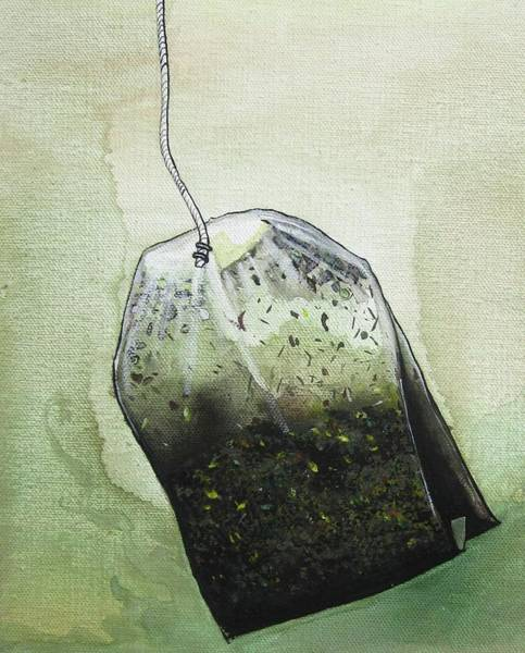 Caffeinated Painting - Submerged Tea Bag by Mary Ellen Frazee